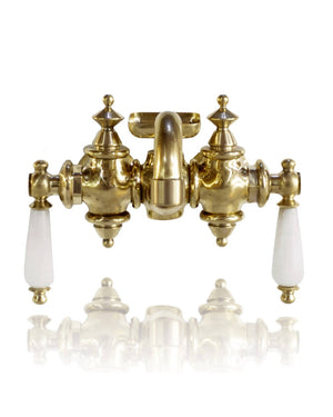 Natural Non Lacquered Brass 3 3/8ths Tub Filler Faucet w/ Marble Lever Handles