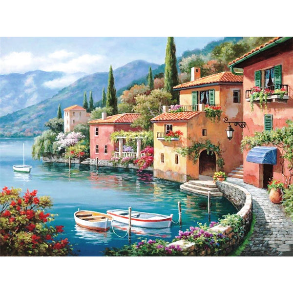 5D Full Drill Diamond Painting by Number Kits Italian Seaside 30x40 (12x16 inch)