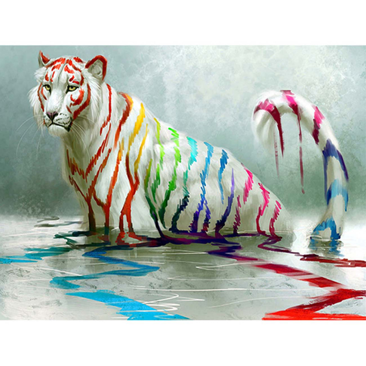Watercolor White Tiger 5D Diamond Painting