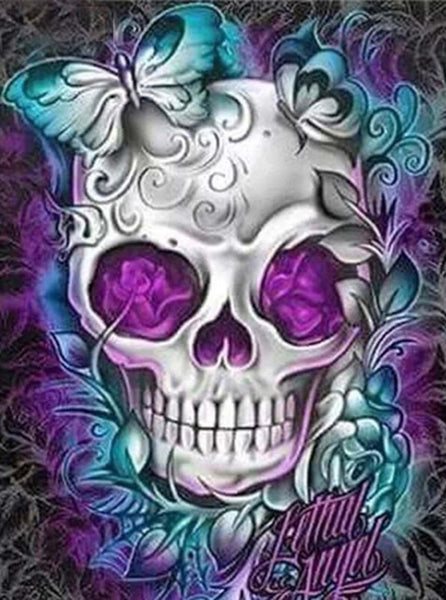 SuperDecor Diamond Painting Flowers Skull Paint with Diamond Kits Colorful 30 x 30 cm