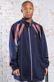 Vintage Diadora Track Embroidered Logo Jacket Blue