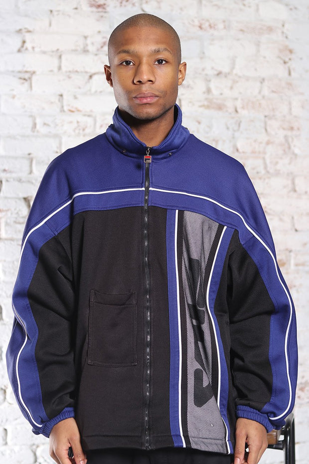 Vintage Fila Track Big Logo Jacket Blue