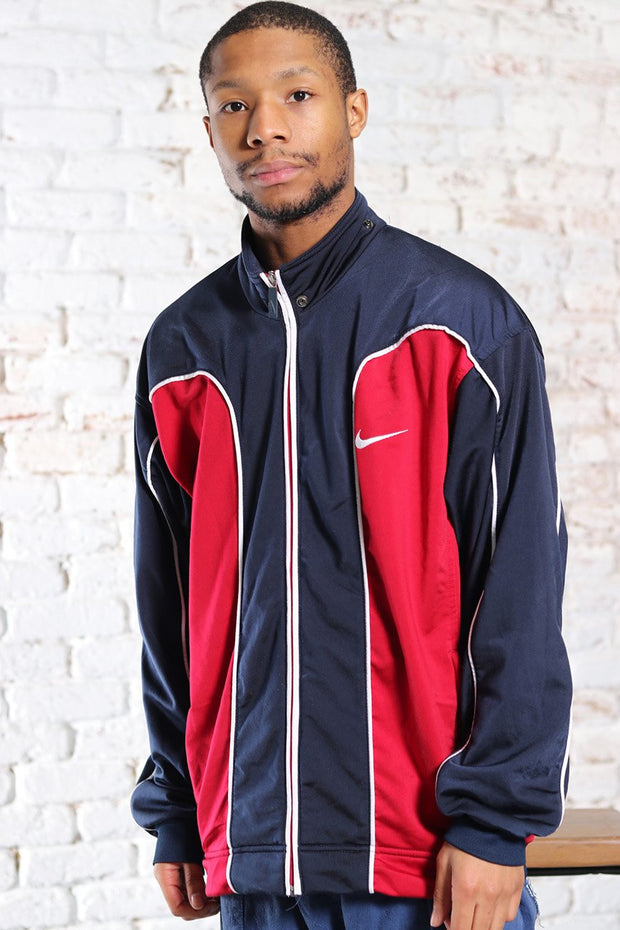 Vintage Nike Track Embroidered Logo Jacket Blue