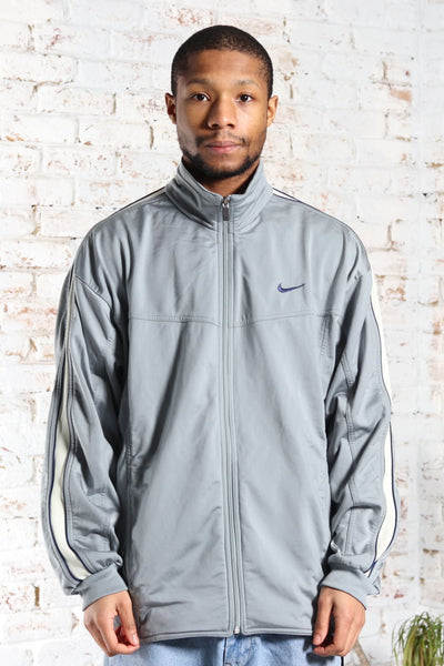 Vintage Nike Track Embroidered Logo Jacket Grey