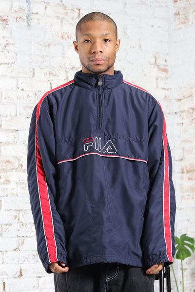 Vintage Fila Big Embroidered Logo Fleece lined Jacket Blue