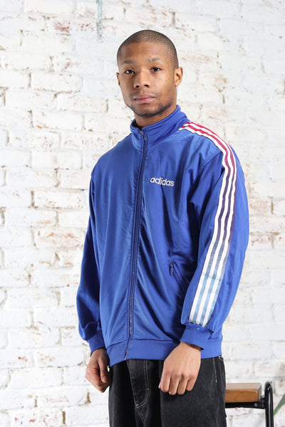 Vintage Adidas Track Embroidered Logo 3 Stripe Jacket Blue