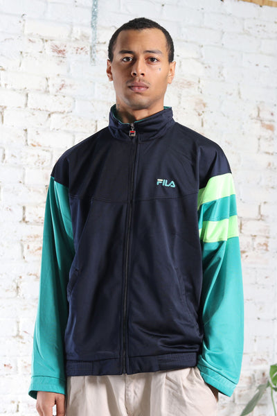 Vintage Fila Track Embroidered Logo Jacket Blue