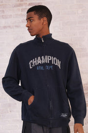 Vintage Champion Full Zip Big Logo Sweatshirt Blue