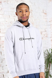 Vintage Champion Embroidered Logo Hoodie Grey