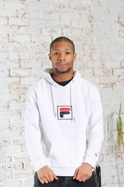 Vintage Fila Big Embroidered Logo Hoodie White
