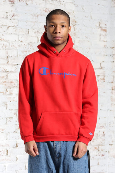 Vintage Champion Big Logo Hoodie Red