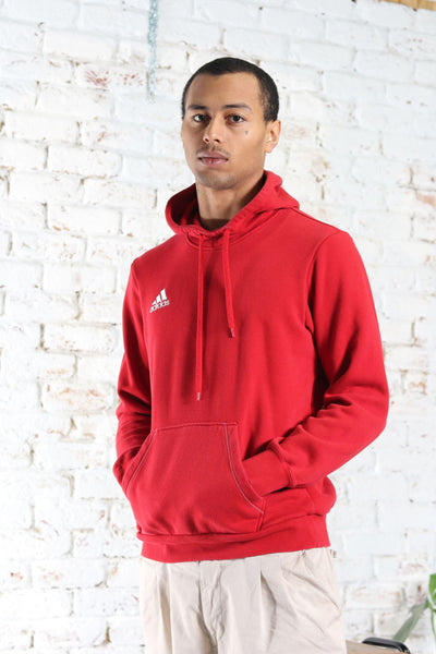 Vintage Adidas Embroidered Logo Hoodie Red