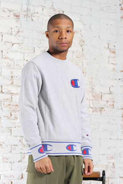 Vintage Champion Embroidered Logo Sweatshirt Grey