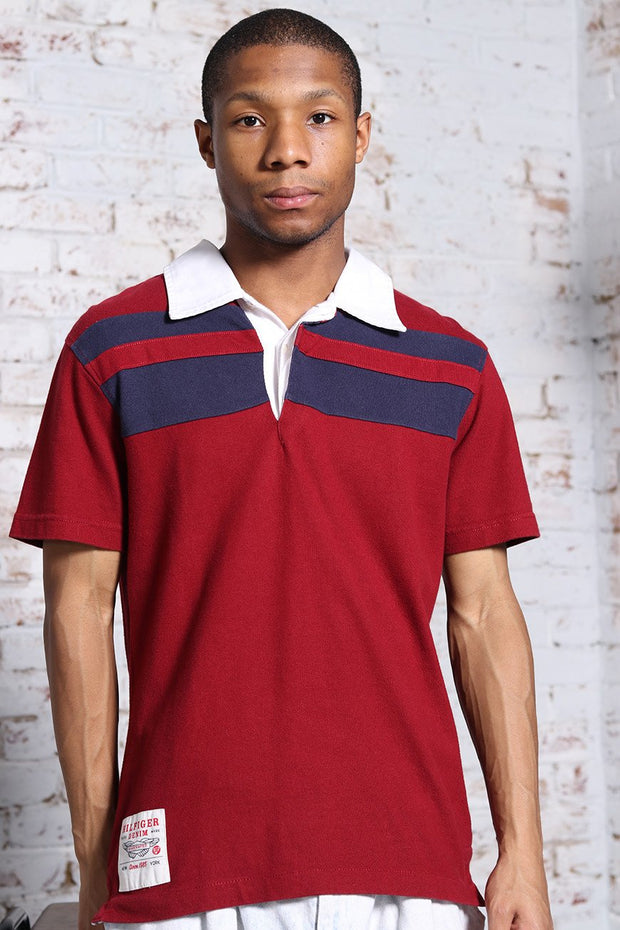 Vintage Tommy Hilfiger back print Polo Shirt Red