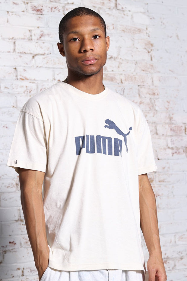 Vintage Puma Big Print Logo T-Shirt Cream