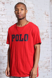 Vintage Polo Ralph Lauren Big Logo Spellout T-Shirt Red
