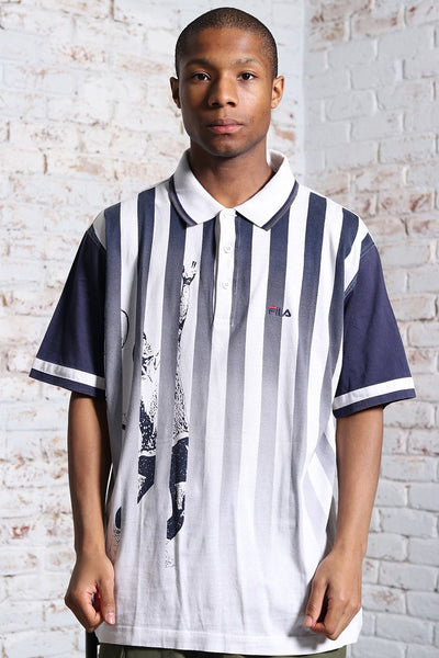 Vintage Fila Embroidered Logo Striped Polo Shirt Blue