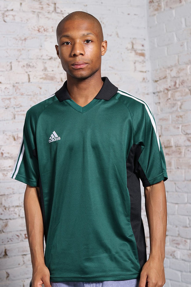 Vintage Adidas Collared Logo 3 Stripe T-Shirt Green
