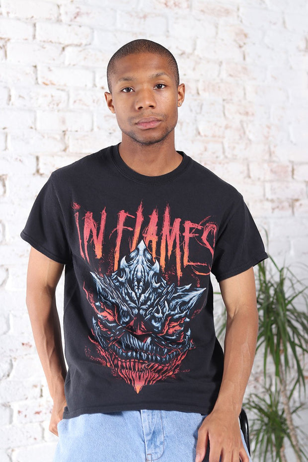 Vintage In Flames Graphic T-Shirt Black