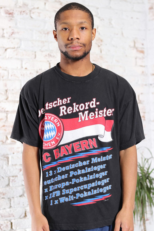 Vintage Bayern Munich Graphic Print T-Shirt Black