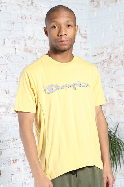 Vintage Champion Big Embroidered Logo T-Shirt Yellow