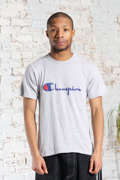 Vintage Champion Print Logo T-Shirt Grey