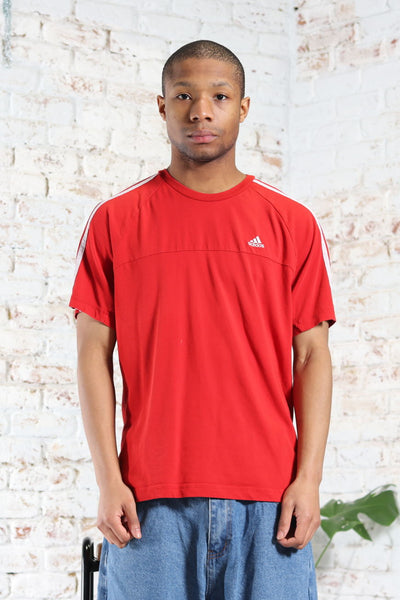 Vintage Adidas Embroidered Logo 3 Stripe T-Shirt Red