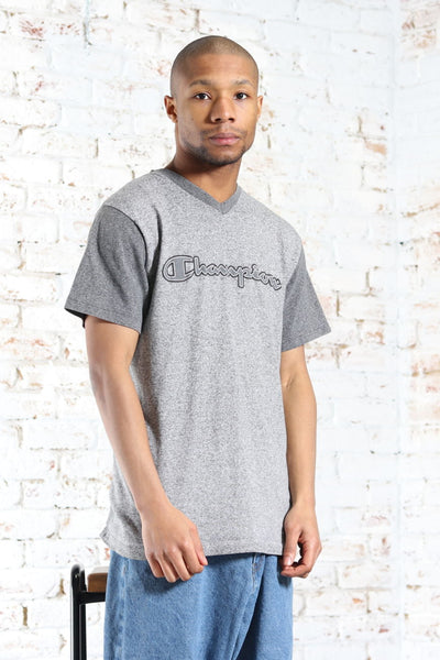 Vintage Champion Spellout Printed Logo T-Shirt Grey