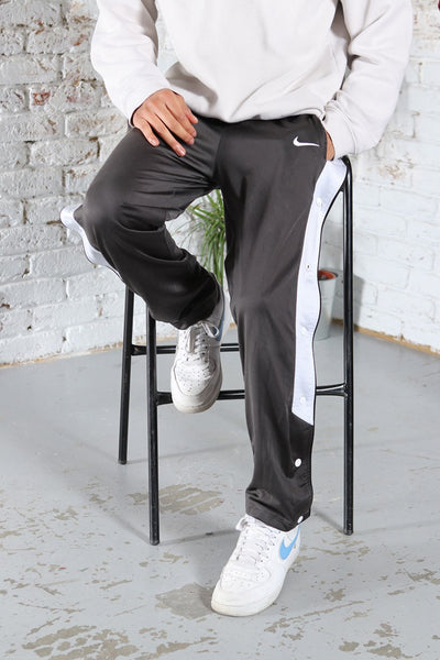 Vintage Nike Track Pants Embroidered Logo Popper Trousers Grey