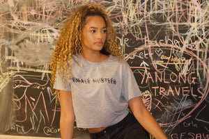 Grey 'Female Hustler' Cropped Tee