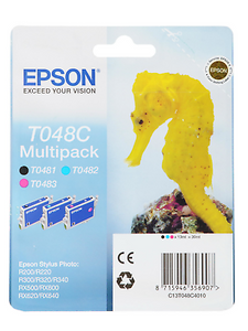 Epson T048C Black Magenta CYAN T0481 T0482 T0483 3 Ink Cartridges part  of T0487