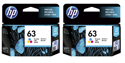 Genuine HP 63 Tri-Color Ink Twin Pack EXP. 2016 OFFICEJET 3830 3831 3833 F6U61A
