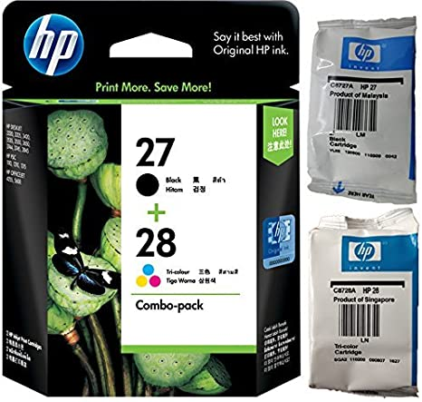 Original HP 27 & 28 - Print cartridge - 1 x black 1 x yellow, cyan, magenta C8728A C8728AE - Deskjet/PSC/ Photosmart/Officejet /Digital Copier printers - Easy Mail Packaging - Foil Inks