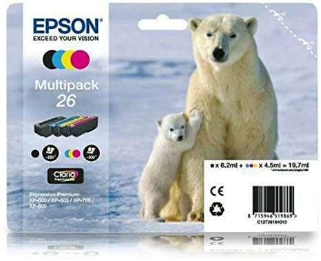 Original 4 Item Multipack 26 Series Ink Cartridges Polar Bear Epson Expression