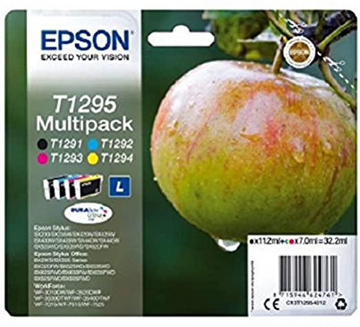 Epson T1295 Black & Colour High Capacity Ink Cartridge 4 Pack (Original)