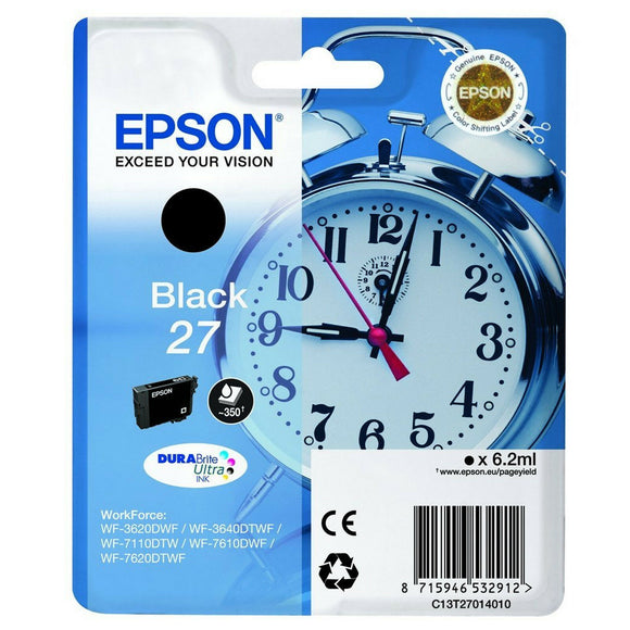 Epson 27 Genuine/Original Ink Cartridges WorkForce WF-3620DWF/7620DTWF Black New