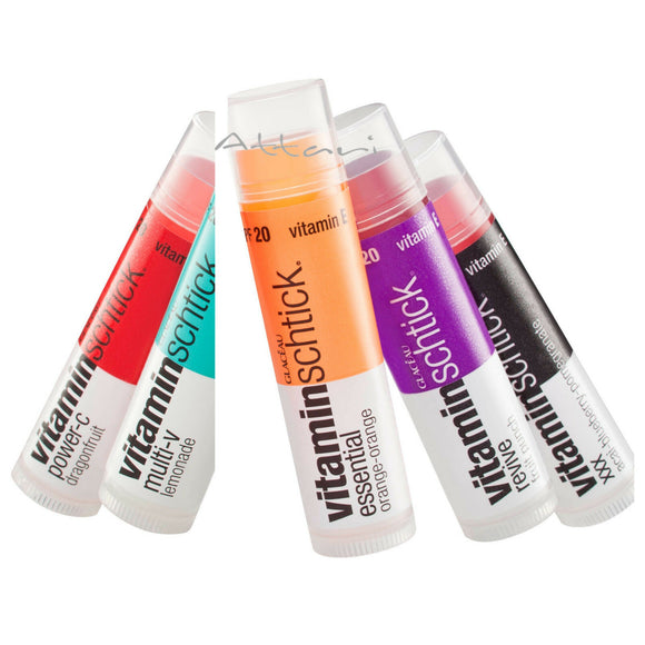 Glaceau VitaminWater Lip Balm Revive, Multi V, Tripple Berry, Power C, Essential