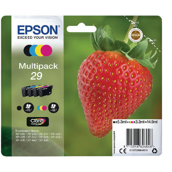 Genuine Epson T2986 Strawberry 29 Multipack - 4 inks (C13T29864010) for XP-342