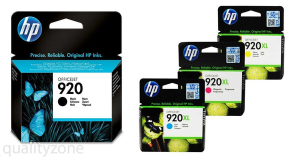 4 Genuine HP 920xl Cyan, Magenta, Yellow, hp 920 black Original Ink Cartridges
