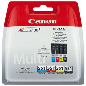 Genuine Canon CLI-551 BK/C/M/Y 4 Colour Ink Cartridge MG5450 MG6350 iP7250 551
