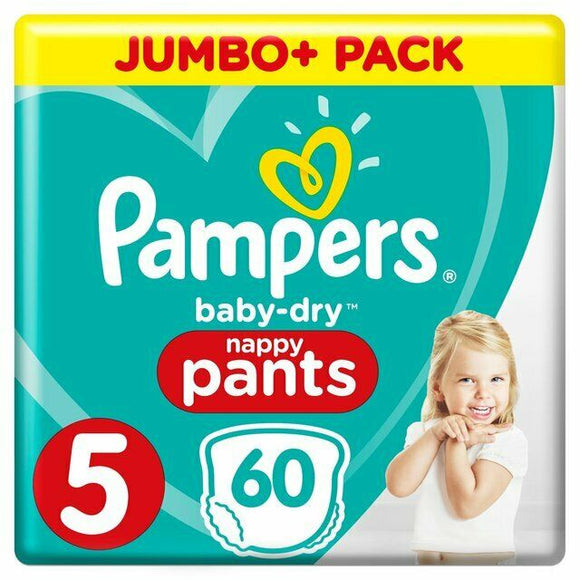 Pampers Baby Dry Nappy Pants Size 5 Pack of 60 - 12-17kg Diaper 27-38lbs