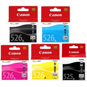 Canon PGI525 CLI526 5 Ink Bundle Original 525 & 526 inks iP4850 MX895 MX885 mx