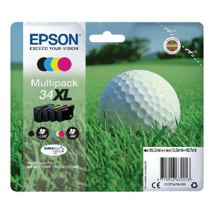 Genuine Epson 34XL Multipack Printer Ink T3476 WF-3720DWF WF-3725DWF Golf Ball