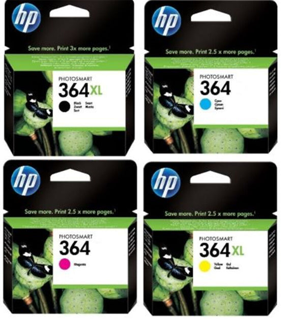 4 Set Original Genuine HP 364XL Black Yellow HP 364 Cyan Magenta Ink Multi Combo