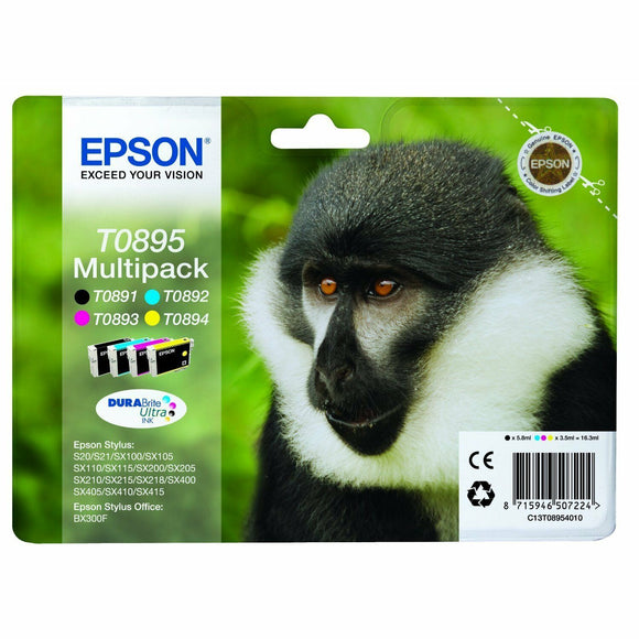 Epson Original T0895 Monkey Multipack Ink Cartridges for Styus SX100 105 SX Sers