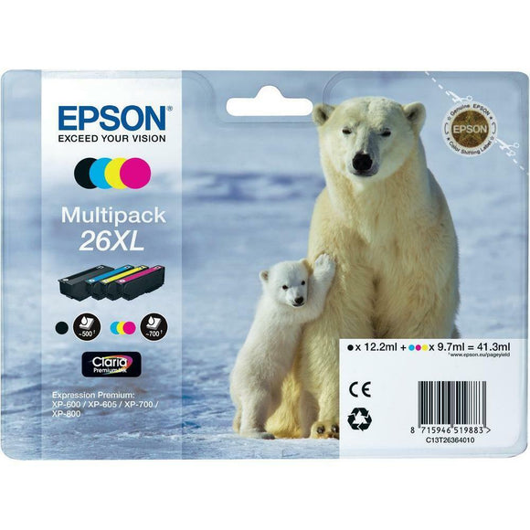 Epson Polar Bear 26XL Ink Cartridges Multipack Cyan Magenta Yellow Black T2636