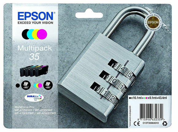 Genuine Epson T3586 Padlock 35 Ink Cartridge Multipack 4 inks For WF-4730DWF
