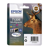 GENUINE EPSON STAG SERIES EXTRA HIGH CAPACITY INK CARTRIDGE 3 COLOUR PACK T1306