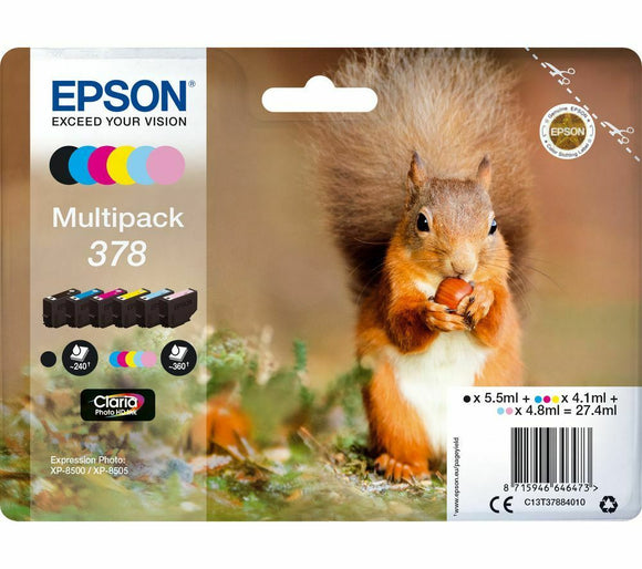 EPSON 378 Squirrel 6-colour Ink Cartridges  Multipack XP-8500 8505 C13T37884010