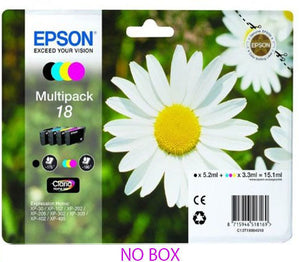 Epson Genuine T1806 18 4-Ink Multipack for Expression Home XP-212 XP-312 XP-412